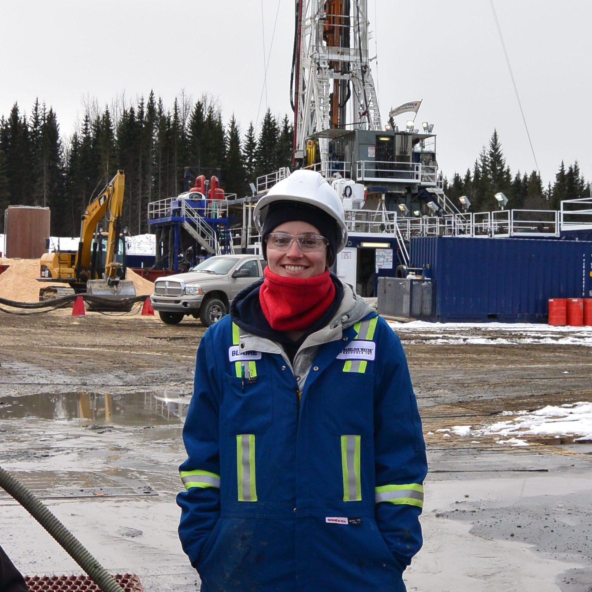 Person in front of rig